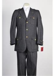 JSM-372 Mens 3 button Black Single Breasted Suit