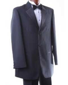 KH696 Single Breasted Three Button Liquid Jet Black Tuxedo
