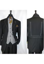 JSM-1421 Mens 3 Button Fortino Landi Black Vested Single