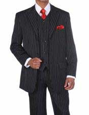 JSM-335 Mens 3 Button Black/White Vested Pinstripe ~ Stripe
