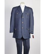 JSM-439 Mens 3 Button Blue Single Breasted Suit