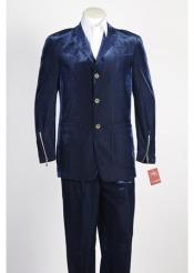 JSM-246 Mens 3 Button Blue Single Breasted Velvet Suit