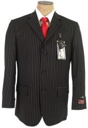 ANS593 John Paul Liquid Jet Black Pinstripe Superior Fabric