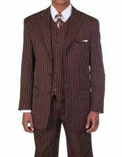 JSM-338 Mens 3 Button Brown/White Vested Pinstripe ~ Stripe