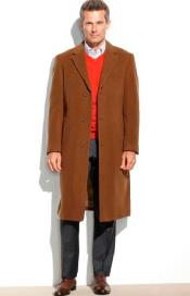SM4811 Mens Brown 95% Wool Overcoat ~ Topcoat (Cashmere