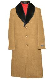 SM4420 Mens (Removable ) Fur Collar Camel 3 Button