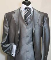 BC-04 Three Button Single Breasted Vested Suit Jacket With