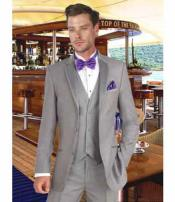 JSM-2804 Mens 3 Button Grey Notch Lapel Single Breasted