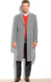 SM4822 Mens Light Gray 3 Button 95% Wool Overcoat