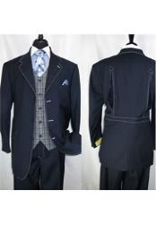 JSM-1422 Mens 3 Button Fortino Landi Navy Blue Vested