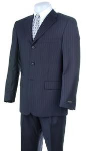 S32 Liquid Navy Blue Shade Pisntripe 3 Buttons Style