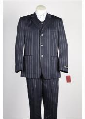 JSM-333 Mens 3 Button Navy Single Breasted Linen Suit