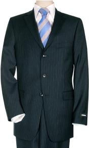 PE23 Comservative Navy Pinstripe Superior Fabric 140s Wool Fabric