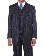 JSM-339 Mens Navy/White 3 Button Vested 3 Piece Pinstripe