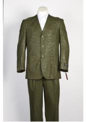 JSM-108 Mens 3 Button Olive Single Breasted Shiny Paisley