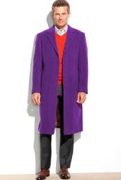 SM4828 Mens 95% Wool Notch Lapel Purple Overcoat ~