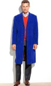 SM4823 Royal Blue Mens 95% Wool Notch Lapel Overcoat