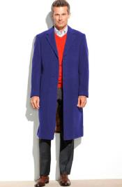 SM4821 Mens 95% Wool Sapphire Notch Lapel Overcoat ~