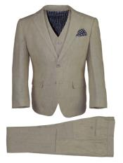 JA187 Mens Notch Lapel 3 Button Vest Tan Mens