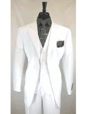 GD1559 Mens White Single Breasted 3 Button Notch Lapel