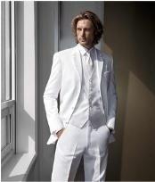 BL2 High Quality Satin Notch Lapels White Tuxedo With