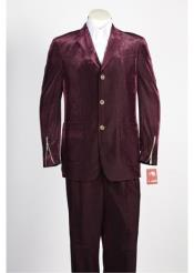 JSM-249 Mens 3 Button Single Breasted Wine Suit