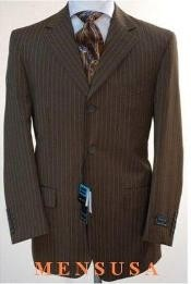 663 Chocolate brown color shade pinstripe 3 Button Style