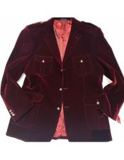 AP660 Mens Burgundy 3 Buttons Single Breasted Military Blazer