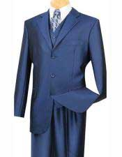 JSM-1560 Mens Teal Suit 3 Buttons Indigo ~ Cobalt