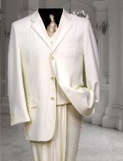 AM901 Ivory~Off White~Cream 3 Button Style three piece suit