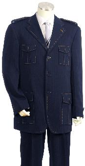 HT6730 Luxurious 3 Button Style Navy Safari Military Style