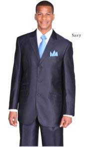 PN_C33 Ticket Pocket 3 Button Style Peak Lapel Navy