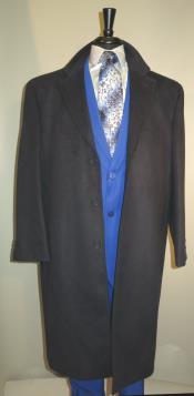KA0121 3 Button Style Long Wool Fabric Blend Navy