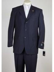 SM952 Men's 3 Button Style Pinstripe Single Breasted Navy