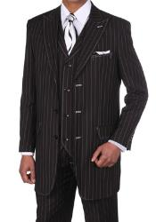 D6883 Classic pronounce visible Chalk Gangster Stripe 3 Button
