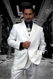 Gian323 3 Buttons Style Solid WHITE EXTRA FINE 2PC