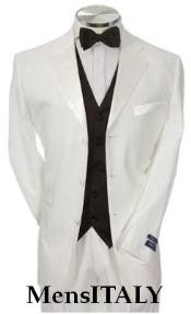 NJ_T3HT Light Weight White Tuxedo 3 Buttons Style +