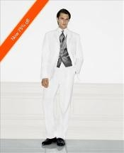HV4882 White Wedding Suit Notched Lapel 3 Button Style