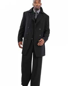 RQ5734 Suit Three Piece Vested With Peacoat Jacket with