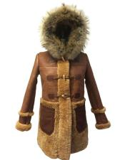 Whiskey Hooded Toggle Shearling