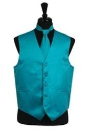VS1028 Vest Tie Set turquoise ~ Light Blue Stage