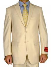 JSM-1884 Mens Mantoni 2 Button Beige Notch Lapel 100%