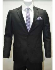SD300 Mens Linen Notch Lapel 2 Button Black Single