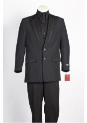 JSM-90 Mens 2 Button Black Blue Suit
