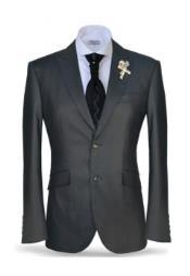 JSM-2516 Mens 2 Button Black Peak Lapel Suit Fashion