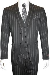 JSM-4924 Mens 100% Wool Single Breasted Black 2 Button
