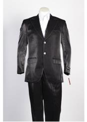 JSM-322 Mens 2 Button Black Single Breasted Suit
