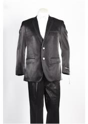 JSM-329 Mens 2 Button Black Two Front Pocket Suit