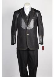 JSM-349 Mens 2 Button Black Single Breasted Suit