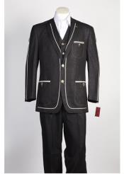 JSM-352 Mens Black 2 Button Two Piece Single Breasted